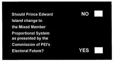Image of ballot for 2005 Plebiscite - image shows white text on a black background. The text says Should Prince Edward Island change to the Mixed Member Proportional System as presented by the Commission of PEI's Electoral Future? With blank boxes beside No and Yes options.