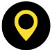 Icon showing a yellow map marker on a black background