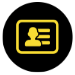 Icon showing a yellow photo ID on a black background
