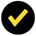 Icon showing a yellow checkmark on a black background