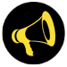 Icon showing yellow megaphone on a black background