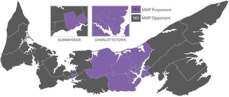 Island Map depicting voting results of 2019 Referendum on Electoral Reform